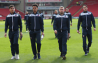 Bolton Wanderers' Tyler Walker, Bolton Wanderers' Antonee Robinson, Bolton Wanderers' Connor Hall and Bolton Wanderers' Will Buckley<br /> <br /> Photographer Rachel Holborn/CameraSport<br /> <br /> The EFL Sky Bet Championship - Barnsley v Bolton Wanderers - Saturday 14th April 2018 - Oakwell - Barnsley<br /> <br /> World Copyright &copy; 2018 CameraSport. All rights reserved. 43 Linden Ave. Countesthorpe. Leicester. England. LE8 5PG - Tel: +44 (0) 116 277 4147 - admin@camerasport.com - www.camerasport.com