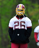 Ashburn, VA - April 18, 2010 -- Washington Redskin running back  Clinton Portis (26) looks on as he waits his turn to participate in a passing drill at the first 2010 mini-camp at Redskins Park in Ashburn Virginia on Sunday, April 18, 2010..Credit: Ron Sachs / CNP