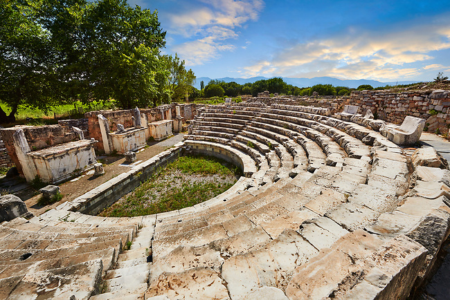 Odeon (Concert-hall) seating  around 1700 people. It was used also as the Bouleuterion for the meetings of the Senate and remained in this form until the early fifth century.<br /> <br /> Aphrodisias Archaeological Site, Aydin Province, Turkey.