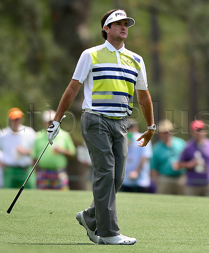 11.04.2014. Augusta, GA, USA - Bubba Watson watches his second shot from the 15th fairway in the second round at the Masters Tournament in August, Ga., on Friday, April 11, 2014.