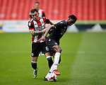 Nathan Thomas of Sheffield Utd  tussles with Aaron Bissaka of Crystal palace during the Professional Development U23 match at Bramall Lane, Sheffield. Picture date 4th September 2017. Picture credit should read: Simon Bellis/Sportimage