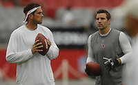 Aug 18, 2007; Glendale, AZ, USA; Arizona Cardinals quarterback Matt Leinart (7) talks with quarterback Kurt Warner (13) against the Houston Texans at University of Phoenix Stadium. Mandatory Credit: Mark J. Rebilas-US PRESSWIRE Copyright © 2007 Mark J. Rebilas