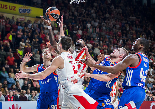 8th December 2017, Aleksandar Nikolic Hall, Belgrade, Serbia; Turkish Airlines Euroleague Basketball, Crvena Zvezda mts Belgrade versus Anadolu Efes Istanbul; Forward Nemanja Dangubic  and Center Mathias Lessort of Crvena Zvezda mts Belgrade fight for the ball under the basket against Center Bryant Dunston, Center Vladimir Stimac and Forward Zoran Dragic of Anadolu Efes Istanbul during the match