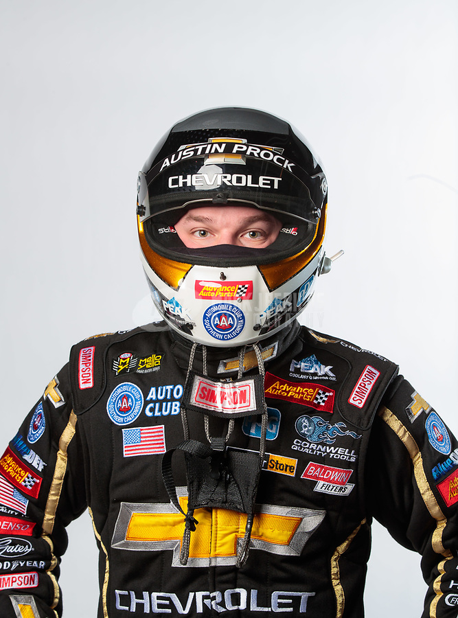 Feb 6, 2019; Pomona, CA, USA; NHRA top fuel driver Austin Prock poses for a portrait during NHRA Media Day at the NHRA Museum. Mandatory Credit: Mark J. Rebilas-USA TODAY Sports