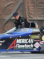 Nov 10, 2018; Pomona, CA, USA; NHRA top fuel driver Cameron Ferre during the Auto Club Finals at Auto Club Raceway. Mandatory Credit: Mark J. Rebilas-USA TODAY Sports