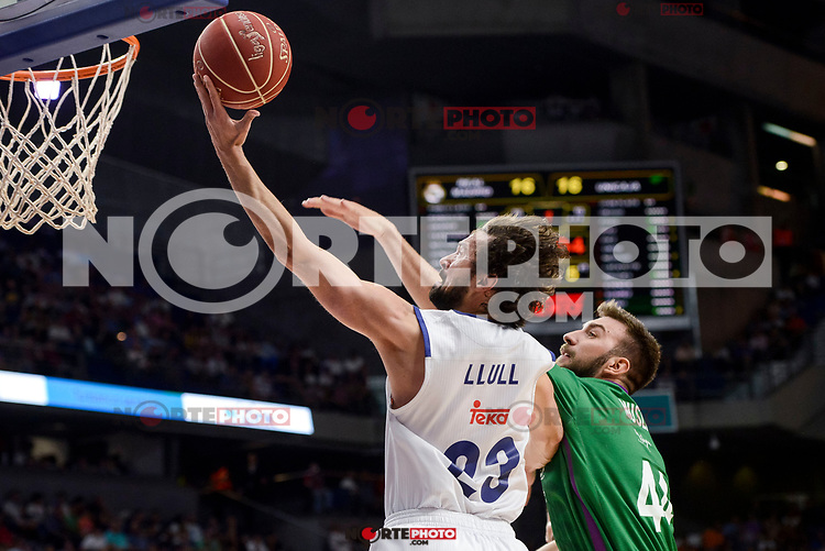 Real Madrid's Sergio Llull and Unicaja Malaga's Dejan Musli during semi finals of playoff Liga Endesa match between Real Madrid and Unicaja Malaga at Wizink Center in Madrid, June 02, 2017. Spain.<br /> (ALTERPHOTOS/BorjaB.Hojas) /NortePhoto.com
