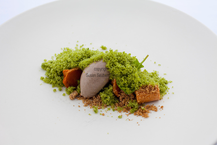 Persimmon with sorrel, rye ice cream and whipped persimmon