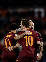 Calcio, Serie A: Roma, stadio Olimpico, 19 febbraio 2017.<br /> Roma&rsquo;s Radja Nainggolan (r) celebrates with his teammates Mohamed Salah (l) and Francesco Totti (c) after scoring during the Italian Serie A football match between As Roma and Torino at Rome's Olympic stadium, on February 19, 2017.<br /> UPDATE IMAGES PRESS/Isabella Bonotto
