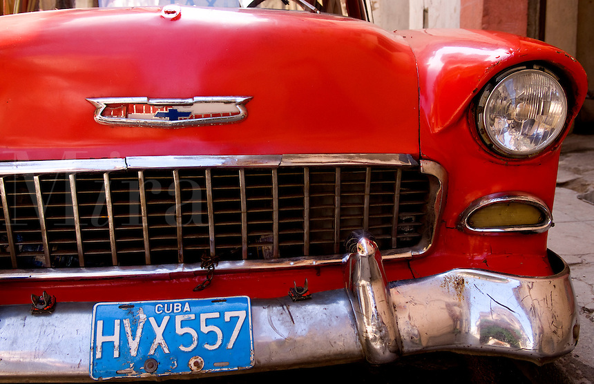 Havana capitol city of Cuba with old classic Chevy auto closeup