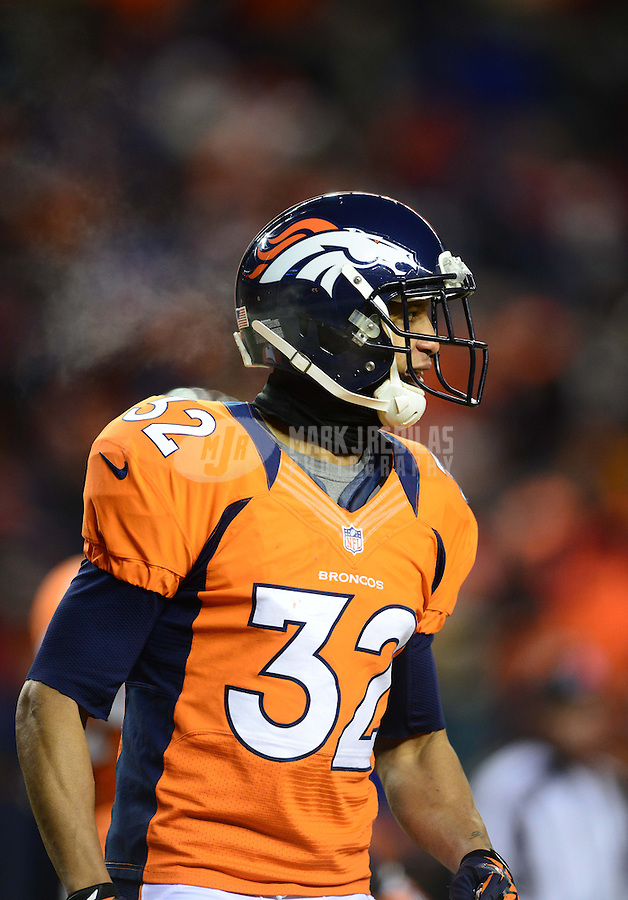Jan 12, 2013; Denver, CO, USA; Denver Broncos cornerback Tony Carter (32) against the Baltimore Ravens during the AFC divisional round playoff game at Sports Authority Field.  Mandatory Credit: Mark J. Rebilas-