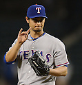 Yu Darvish (Rangers),.APRIL 12, 2013 - MLB :.Pitcher Yu Darvish of the Texas Rangers gives a sign during the baseball game against the Seattle Mariners at Safeco Field in Seattle, Washington, United States. (Photo by AFLO)