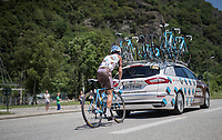 Alexis Vuillermoz (FRA/AG2R-La Mondiale) pacing back to the breakaway group after a pitstop<br /> <br /> stage 7: Aoste &gt; Alpe d'Huez (168km)<br /> 69th Crit&eacute;rium du Dauphin&eacute; 2017