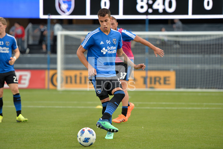San Jose, CA - Wednesday August 29, 2018: Luis Felipe prior to a Major League Soccer (MLS) match between the San Jose Earthquakes and FC Dallas at Avaya Stadium.