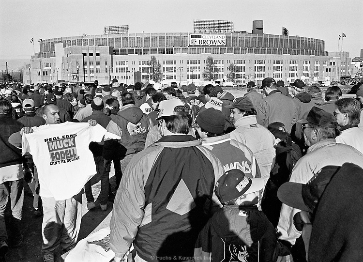 A vendor hawks t-shirts outside Municipal Stadium prior to the final game of the 1995 season. Owner Art Modell moved the team to Baltimore the following year.