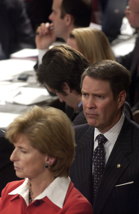 01/09/06.ALITO HEARINGS--Senate Majority Leader Bill Frist, R-Tenn., attended the end of the Senate Judiciary confirmation hearing of Samuel A. Alito Jr., to be an associate justice of the U.S. Supreme Court. In front of him is Christine Todd Whitman, former New Jersey governor and EPA adminstrator, who introduced Alito with Sen. Frank R. Lautenberg, D-N.J..CONGRESSIONAL QUARTERLY PHOTO BY SCOTT J. FERRELL
