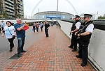 Fans take photos of the armed police during the Championship Play-Off Final match at Wembley Stadium, London. Picture date: May 29th, 2017. Pic credit should read: David Klein/Sportimage