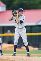 Princeton Rays starting pitcher Brent Honeywell (31) looks to his catcher for the sign against the Burlington Royals at Burlington Athletic Park on July 9, 2014 in Burlington, North Carolina.  The Rays defeated the Royals 3-0.  (Brian Westerholt/Four Seam Images)
