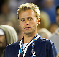 Mats Merkel watching Andy Murray (GBR) (1) against David Ferrer (ESP) (7) in the Semi-Finals of the men's singles. Andy Murray beat David Ferrer 4-6 7-6 6-1 7-6..International Tennis - Australian Open  -  Melbourne Park - Melbourne - Day 12 - Fri 28th January 2011..© Frey - AMN Images, Level 1, Barry House, 20-22 Worple Road, London, SW19 4DH.Tel - +44 208 947 0100.Email - Mfrey@advantagemedianet.com.Web - www.amnimages.photshelter.com