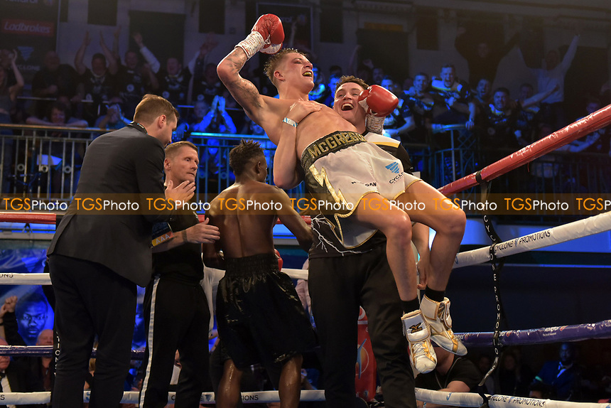 Lee McGregor (white shorts) defeats Thomas Essomba during a Boxing Show at York Hall on 13th October 2018