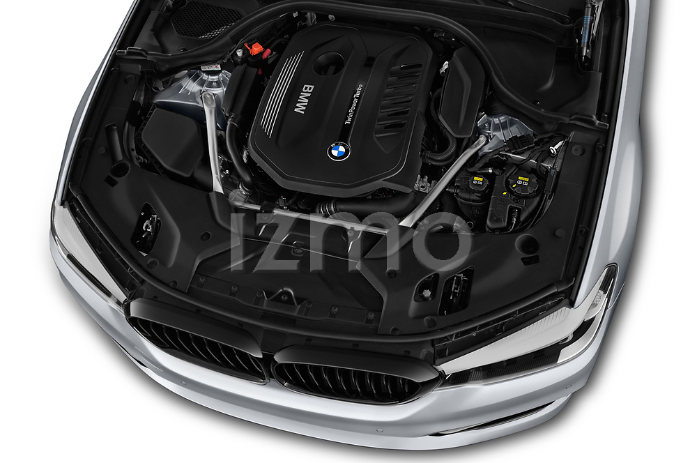 Car stock 2018 BMW 5 Series 540i Sport Line 4 Door Sedan engine high angle detail view