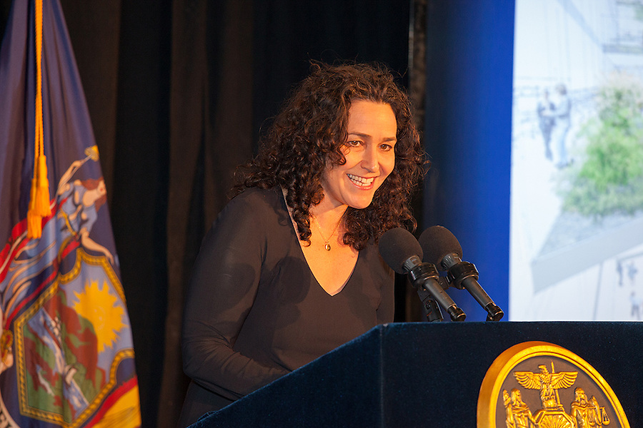 Pamela Shifman, Executive Director of the NoVo Foundation, speaks to the audience at the announcement of the new Women's Building in NYC, October 26, 2015