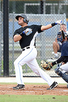 GCL Blue Jays Santiago Nessy #22 hits a home run during a game against the GCL Yankees at the Englebert Complex on June 23, 2011 in Dunedin, Florida.  The Blue Jays defeated the Yankees 3-2 in a rain shortened 8 inning game.  (Mike Janes/Four Seam Images)