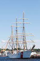 The US Coast Guard barque Eagle, at anchor in New London, Connecticut