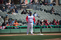Stockton Ports manager Webster Garrison (30) during a California League game against the San Jose Giants on April 9, 2019 in Stockton, California. San Jose defeated Stockton 4-3. (Zachary Lucy/Four Seam Images)