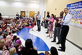 United States President Barack Obama joins in a music program at the College Heights Early Childhood Learning Center in Decatur, Ga., Feb. 14, 2013. (Official White House Photo by Pete Souza).Mandatory Credit: Pete Souza - White House via CNP