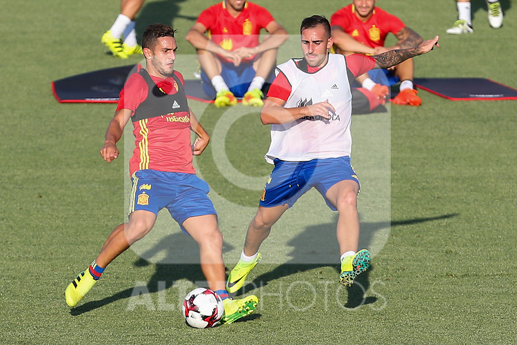 Spanish Koke Resurrecccion and Paco Alcacer during the first training of the concentration of Spanish football team at Ciudad del Futbol de Las Rozas before the qualifying for the Russia world cup in 2017 August 29, 2016. (ALTERPHOTOS/Rodrigo Jimenez)