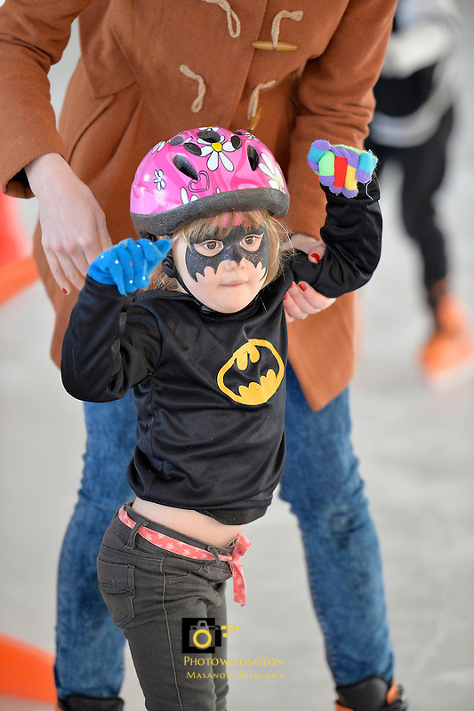 Lily Sarich at the Hutt City - Dowse Square Ice Rink Super Hero Event, Dowse Square, Lower Hutt, New Zealand on Saturday 3 October 2015.<br /> Photo by Masanori Udagawa. www.photowellington.photoshelter.com.