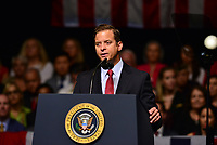 MIAMI, FL - JUNE 16: Lieutenant Governor of Florida is Carlos Lopez-Cantera (R) speaks ahead of U.S. President Donald Trump announcing policy changes he is making toward Cuba at the Manuel Artime Theater in the Little Havana neighborhood on June 16, 2017 in Miami, Florida. The President will re-institute some of the restrictions on travel to Cuba and U.S. business dealings with entities tied to the Cuban military and intelligence services. Credit: MPI10 / MediaPunch