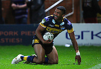 PICTURE BY VAUGHN RIDLEY/SWPIX.COM - Rugby League - Super League - Leeds Rhinos v Salford City Reds - Headingley, Leeds, England - 31/08/12 - Leeds Kallum Watkins celebrates a try.