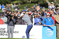 Dustin Johnson (USA) tees off the 6th tee at Pebble Beach Golf Links during Saturday's Round 3 of the 2017 AT&amp;T Pebble Beach Pro-Am held over 3 courses, Pebble Beach, Spyglass Hill and Monterey Penninsula Country Club, Monterey, California, USA. 11th February 2017.<br /> Picture: Eoin Clarke | Golffile<br /> <br /> <br /> All photos usage must carry mandatory copyright credit (&copy; Golffile | Eoin Clarke)