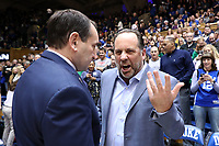 DUKE, NC - FEBRUARY 15: Head coach Mike Brey of the University of Notre Dame and head coach Mike Krzyzewski of Duke University greet each other during a game between Notre Dame and Duke at Cameron Indoor Stadium on February 15, 2020 in Duke, North Carolina.