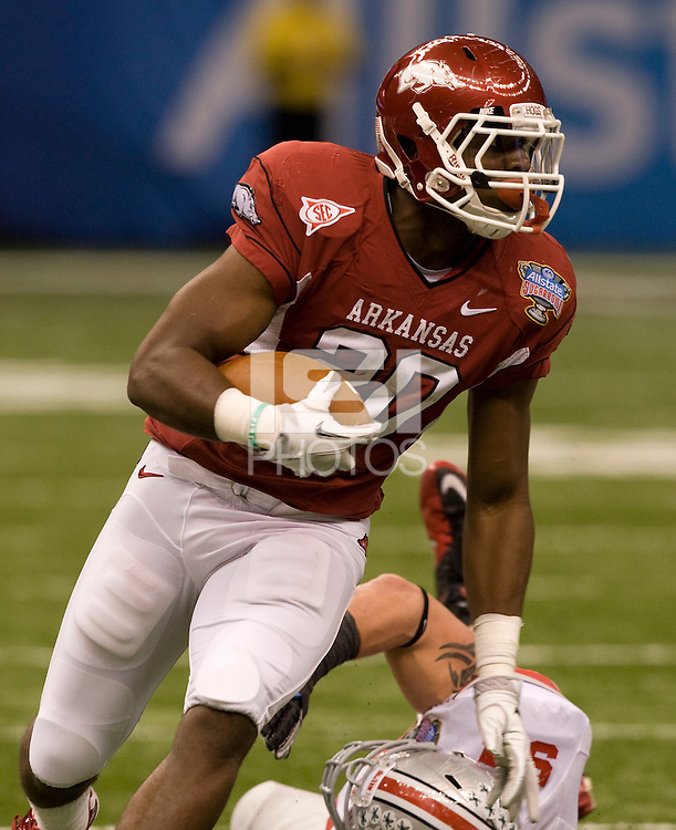 Ronnie Wingo Jr. of Arkansas in action against Ohio State during 77th Annual Allstate Sugar Bowl Classic at Louisiana Superdome in New Orleans, Louisiana on January 4th, 2011.  Ohio State defeated Arkansas, 31-26.