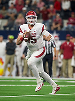 Hawgs Illustrated/Ben Goff<br /> Cole Kelley, Arkansas quarterback, looks for a receiver in the 2nd quarter vs Texas A&M Saturday, Sept. 29, 2018, during the Southwest Classic at AT&T Stadium in Arlington, Texas.