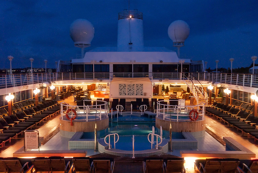 Cruise ship deck and pool area.