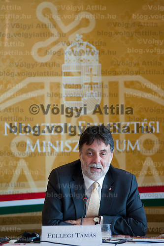 Tamas Fellegi minister for National Development attends a press conference in Budapest, Hungary on July 15, 2011. ATTILA VOLGYI in Budapest, Hungary on July 15, 2011. ATTILA VOLGYI