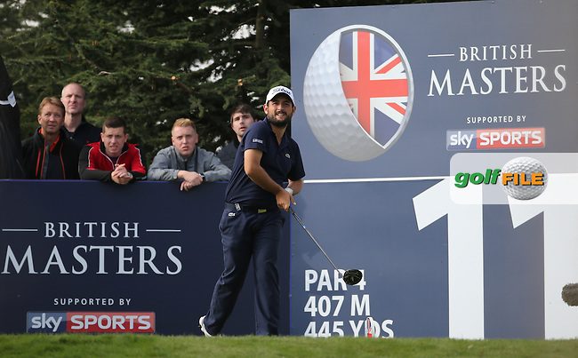 Alexander Levy (FRA) in action during Round Three at the The British Masters 2016, at The Grove, Hertfordshire, England. 15/10/2016. Picture: David Lloyd | Golffile.