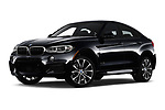 Stock pictures of low aggressive front three quarter view of a 2019 BMW X6 35i 5 Door SUV