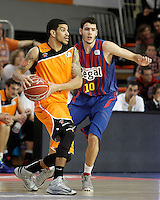 Mad-Croc Fuenlabrada's James Feldeine (l) and FC Barcelona Regal's  Alex Abrines during Liga Endesa ACB match.November 18,2012. (ALTERPHOTOS/Acero) /NortePhoto
