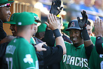 Jean Segura is greeted by his teammates in the Diamondback dugout after hitting a home run in a spring training game against the Chicago Cubs in Mesa, Ariz., on Thursday, March 17, 2016. The Cubs won 15-4. <br />Photo by Cathleen Allison