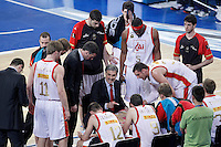 CAI Zaragoza's coach Jose Luis Abos with his players in time out during Spanish Basketball King's Cup match.February 07,2013. (ALTERPHOTOS/Acero)