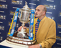 Former Rangers player Bill Logie with the Scottish Cup at William Hill's Bannockburn Road, Stirling office. Bill was the first scot to be sent off in Europe in a game for Rangers Nice 1957. He never played in the Scottish Cup due to injury and watched his team being beat by St Mirren in the 1959 final.