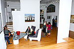 Guests engaged in conversation in a wide angle shot of Ramscale loft. Photographed during Yoga for Wii video game launch, 463 West Street, Ramscale Loft, November 9 2009.