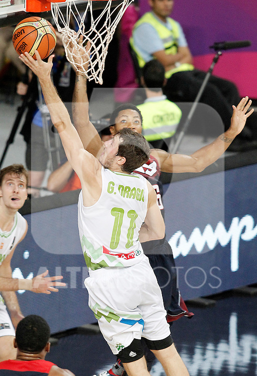 Slovenia's Goran Dragic (l) and USA's Derrick Rose during 2014 FIBA Basketball World Cup Quarter-Finals match.September 9,2014.(ALTERPHOTOS/Acero)
