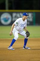 Burlington Royals third baseman Tyler Straub (26) on defense against the Princeton Rays at Burlington Athletic Stadium on August 12, 2016 in Burlington, North Carolina.  The Royals defeated the Rays 9-5.  (Brian Westerholt/Four Seam Images)