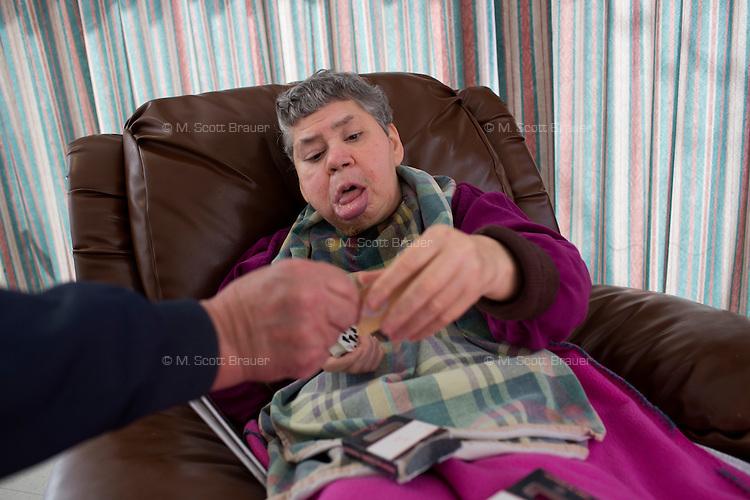 Mary Ann Kaufman, 70, is a resident at the Fernald Developmental Center in Waltham, Massachusetts, USA.