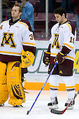 Kellen Briggs (University of Minnesota - Coon Rapids, MN) and Evan Kaufmann (University of Minnesota - Tonka Bay, MN) line up. The University of Minnesota Golden Gophers defeated the Michigan State University Spartans 5-4 on Friday, November 24, 2006 at Mariucci Arena in Minneapolis, Minnesota, as part of the College Hockey Showcase.